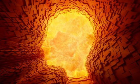 A violent explosion inside a face shaped tunnel