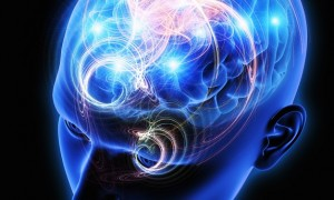 Sparks and illuminated activity from human brain in blue transparent head